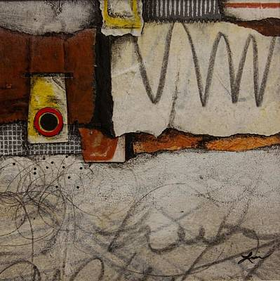 Brown Mixed Media - Red Circle No. 2 by Laura  Lein-Svencner