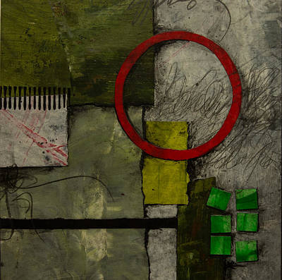 Squares Mixed Media - Red Circle No.1 by Laura  Lein-Svencner