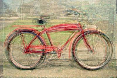 Red Classic Bikes Art Print by Denis Bouchard