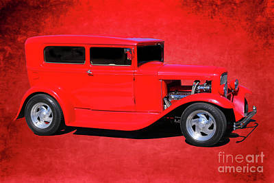 Digital Art - Red Classic Car Hot Rod by Randy Steele