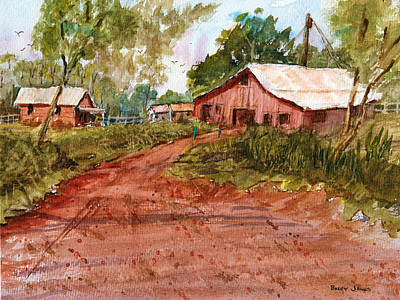 Red Clay Farm - Watercolor Print by Barry Jones