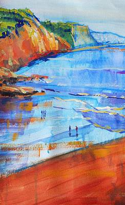 Drawing - Red Cliffs At Sidmouth South Devon Coast by Mike Jory