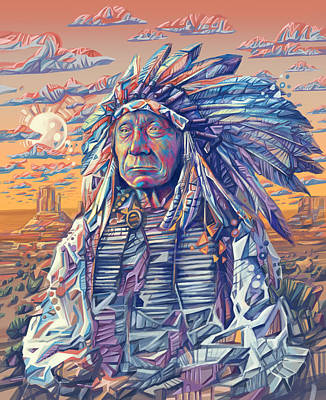 Painting - Red Cloud Decorative Portrait by Bekim Art