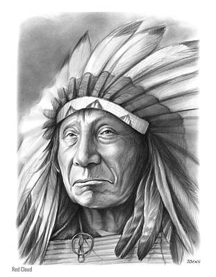 Warrior Wall Art - Drawing - Red Cloud by Greg Joens
