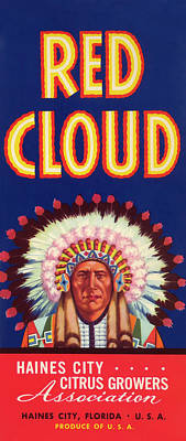 Chief Red Cloud Photograph - Red Cloud Vintage Citrus Crate Label by Daniel Hagerman