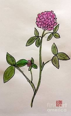 Painting - Red Clover Blossom by Margaret Welsh Willowsilk