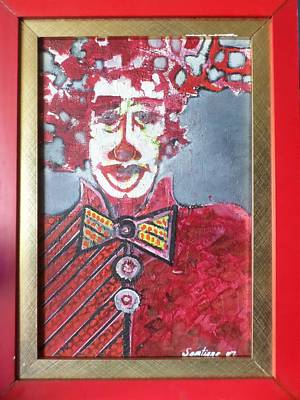 Painting - Red Clown by Adalardo Nunciato  Santiago