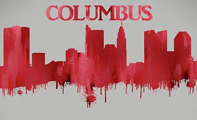 Painting - Red Columbus Ohio Skyline Silhouette by Dan Sproul