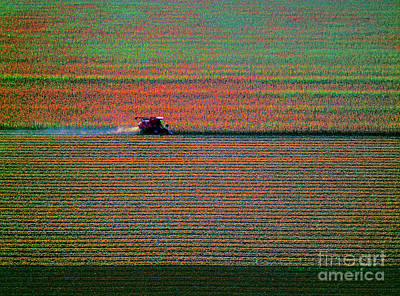 Red Combine Harvesting  Mchenry Aerial Art Print