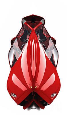 Digital Art - Red Conceptual Ferrari by Rafael Salazar