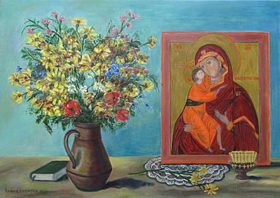 Quadro Painting - My Icon Orthodox Life Theotokos Mother Of God by Katia Iourashevich Ricci