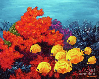 Red Coral And Butterfly Fish Original