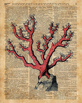 Tapestries - Textiles Mixed Media - Red Coral Vintage Illustration Dictionary Art by Jacob Kuch
