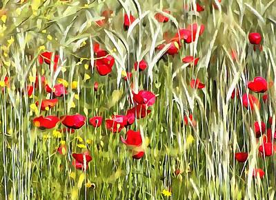 Painting - Red Corn Poppies by Tracey Harrington-Simpson