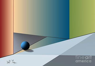 Digital Art - Red Corner And Blue Ball by Leo Symon
