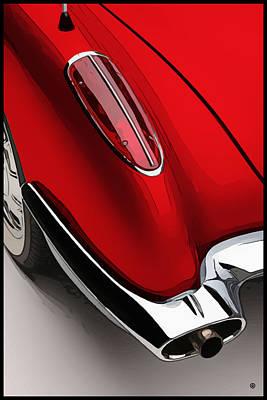 Digital Art - Red Corvette by Gary Grayson