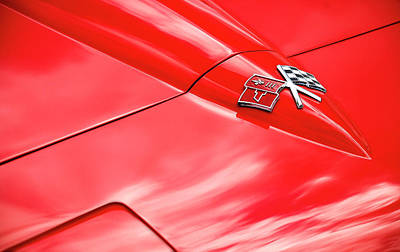 Photograph - Red Corvette Hood by Brian Kinney