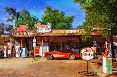 Red Corvette On Route 66 Art Print