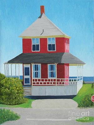 Red Cottage Summer Original by Barbara Nolan