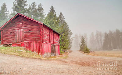 Nikki Vig Royalty-Free and Rights-Managed Images - Red Country Barn in Fog by Nikki Vig