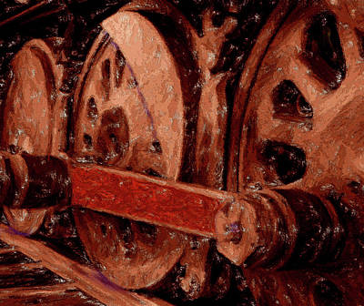 Digital Art - Red Coupling Rod by Chuck Mountain