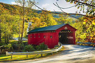 West Arlington Photograph - Red Covered Bridge In The Green Mountains by George Oze