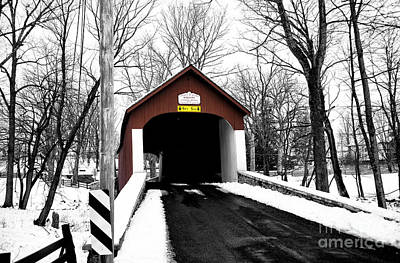 Photograph - Red Covered Bridge Fusion by John Rizzuto