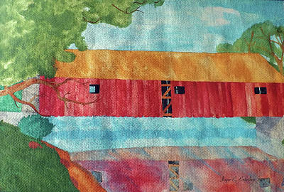 Painting - Red Covered Bridge by Joyce Wasser