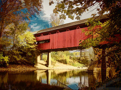 Covered Bridge Painting - Red Covered Bridge Over Stream In Autumn by Elaine Plesser