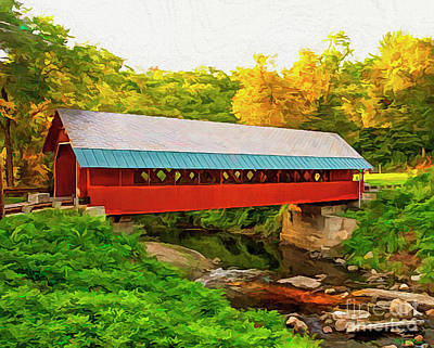 Digital Art - Red Covered Bridge by Walter Colvin