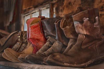 Red Cowboy Boot Art Print by Janet Ballard