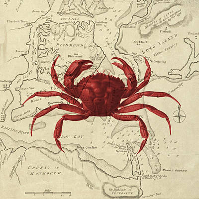 Red Crab Over Antique Sea Chart Art Print