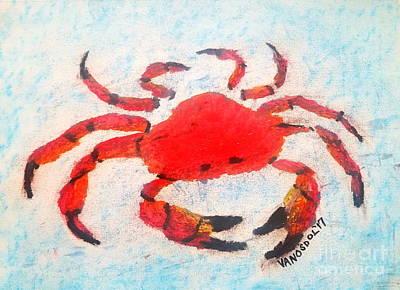Maine Beach Drawing - Red Crab - Soft Pastel Coastal Art by Scott D Van Osdol