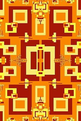 Digital Art - Red, Cream, Gold Decorative Design 1 by Julia Woodman