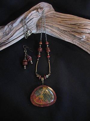 Jewelry - Red Creek Jasper Set In Gourd Wood by Barbara Prestridge