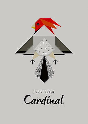 Cardinal Digital Art - Red-crested Cardinal Minimalist by BONB Creative