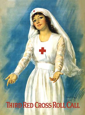 World War 1 Painting - Red Cross Nurse - Ww1 by War Is Hell Store