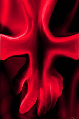 Hand Digital Art - Red Cross by Abstract Angel Artist Stephen K