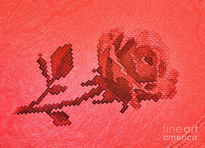 Photograph - Red Cross Stitch Rose Pattern by Linda Phelps