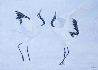Painting - Red-crowned Crane Pair by Masami Iida
