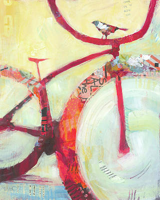 Bicycle Painting - Red Cruiser And Bird by Shelli Walters