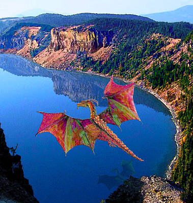 Soaring Mixed Media - Red Crystal Crater Lake Dragon by Michele Avanti