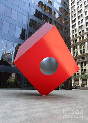 Art In Public Places Photograph - Red Cube by Randall Weidner