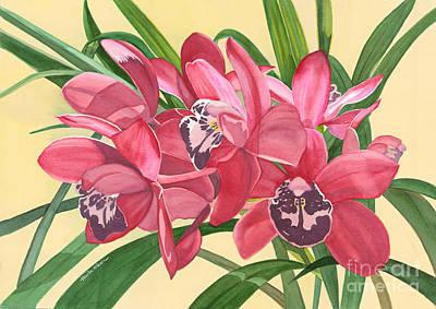 Red Cymbidiums - Orchids Watercolor Original