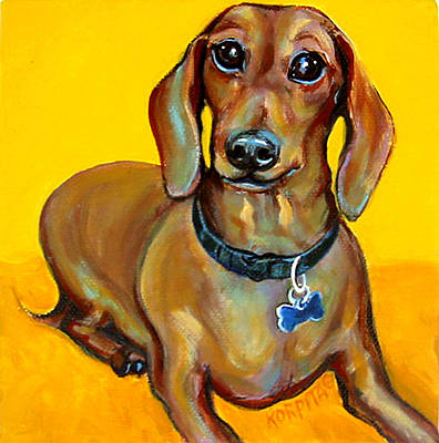 Painting - Red Dachshund - Tigger Smiles by Rebecca Korpita
