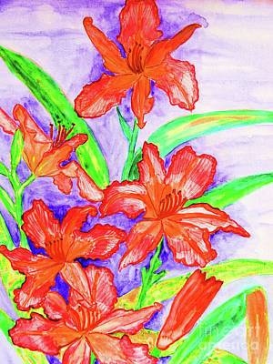 Painting - Red Daily Lilies by Irina Afonskaya