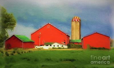 Red Dairy Farm Art Print
