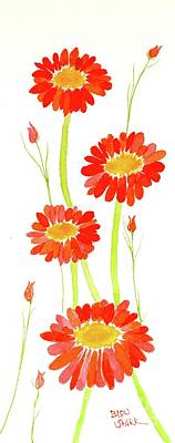 Painting - Red Daisies by Barrie Stark
