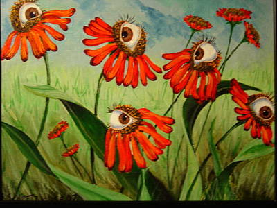 Rene Magritte Painting - Red Daisies by Sandra Scheetz-Wise