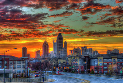 Photograph - Red Dawn Sunrise Midtown Atlanta Towering Over Atlantic Station Art by Reid Callaway